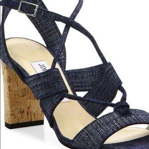 Jimmy Choo 'Margo' Blue Denim Cork Heels